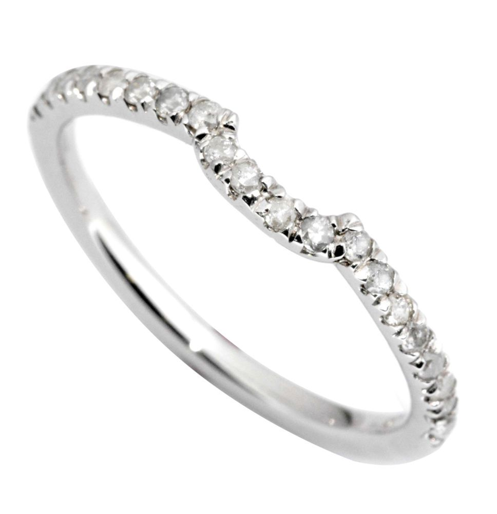 020 carat curved wedding band ring in 14k white gold set