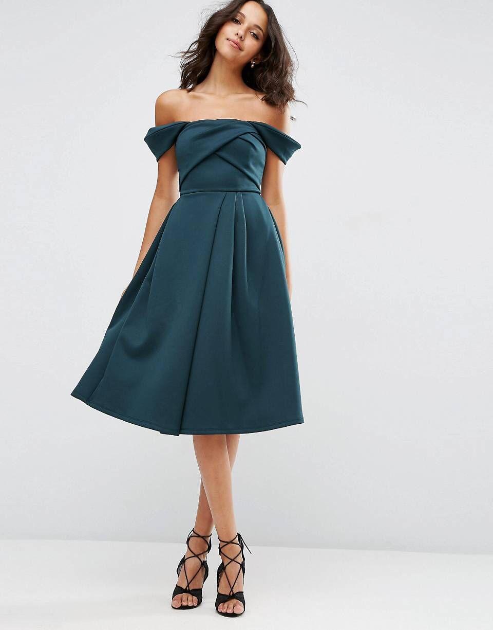 Fold Detail Bardot Scuba Prom Dress