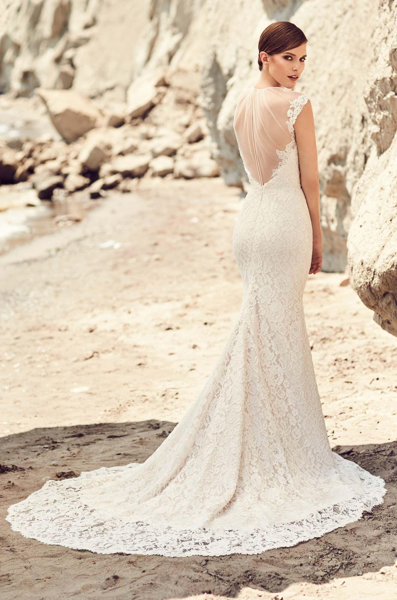Illusion tulle neckline wedding dress style lace wedding