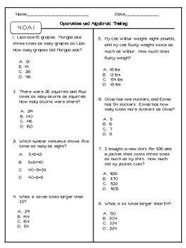 fourth grade math assessments test prep edition  algebra oa  fourth grade math assessments test prep edition