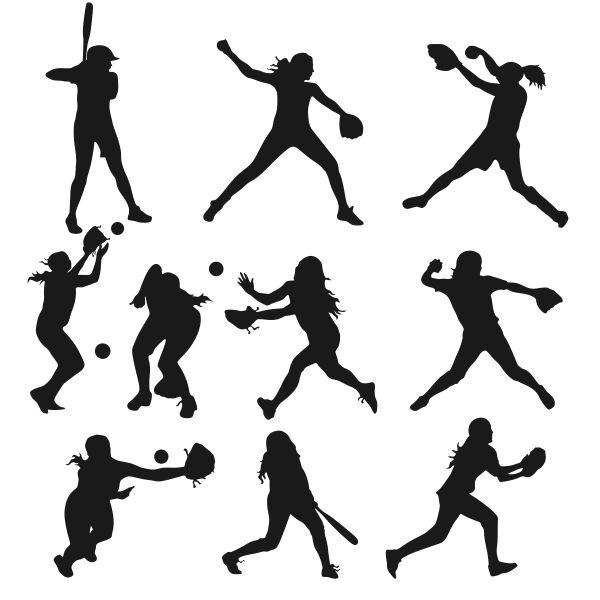 Softball Girls Silhouette Figures Cuttable Designs