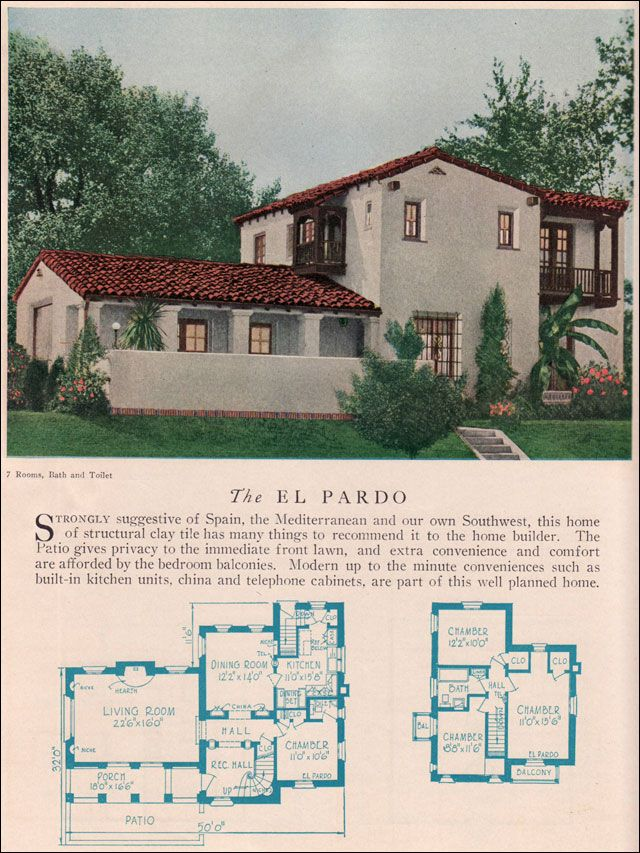 The el pardo 1929 home builders catalog the el pardo is a for Small spanish style house plans
