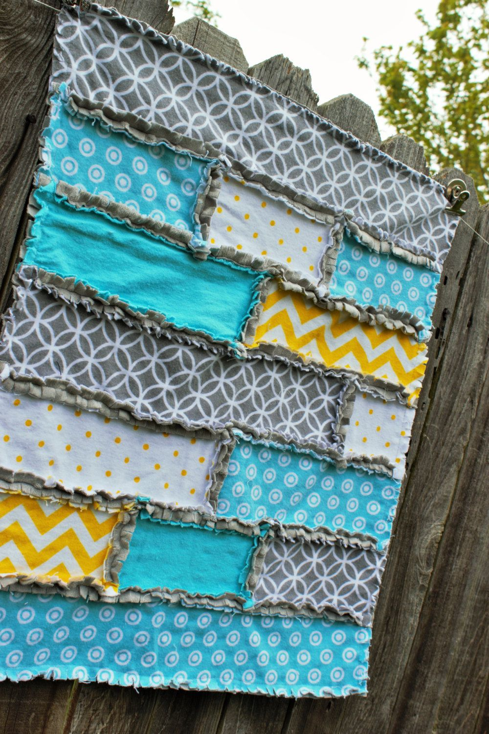 Aqua And Yellow Strip Rag Quilt Backed With Minky By