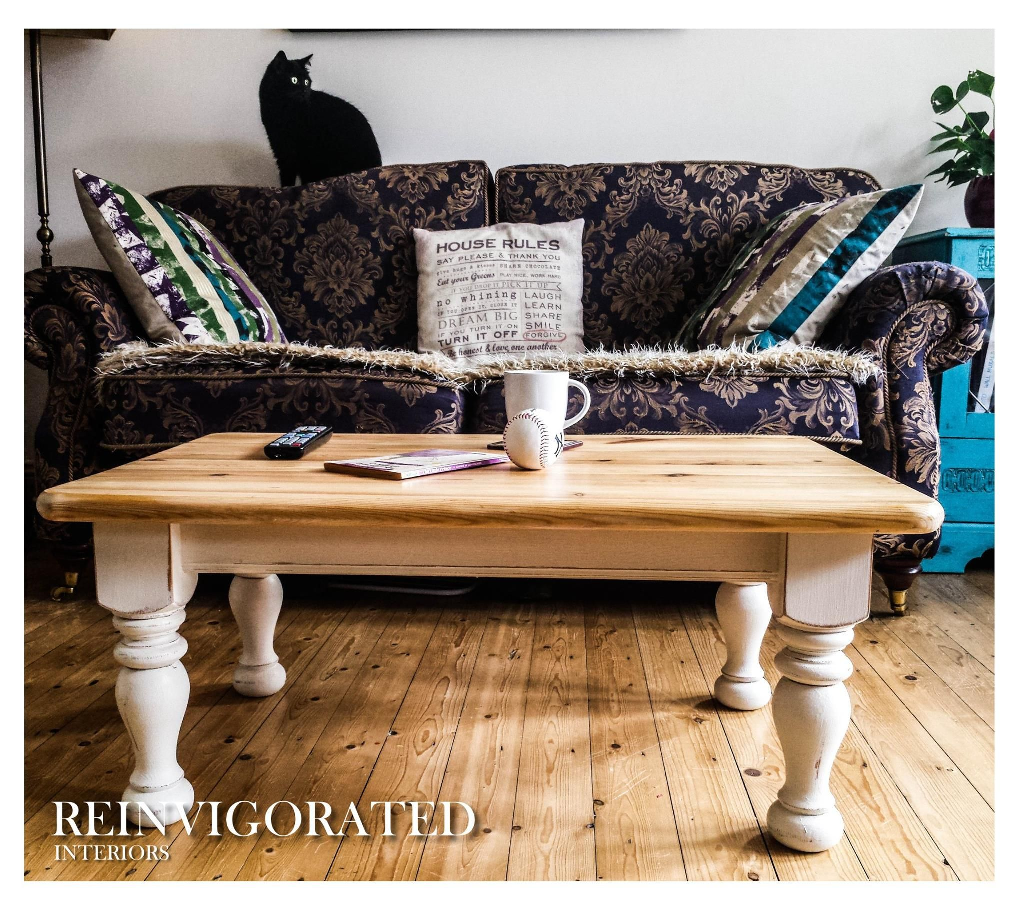 Shabby chic solid pine coffee table in annie sloan white