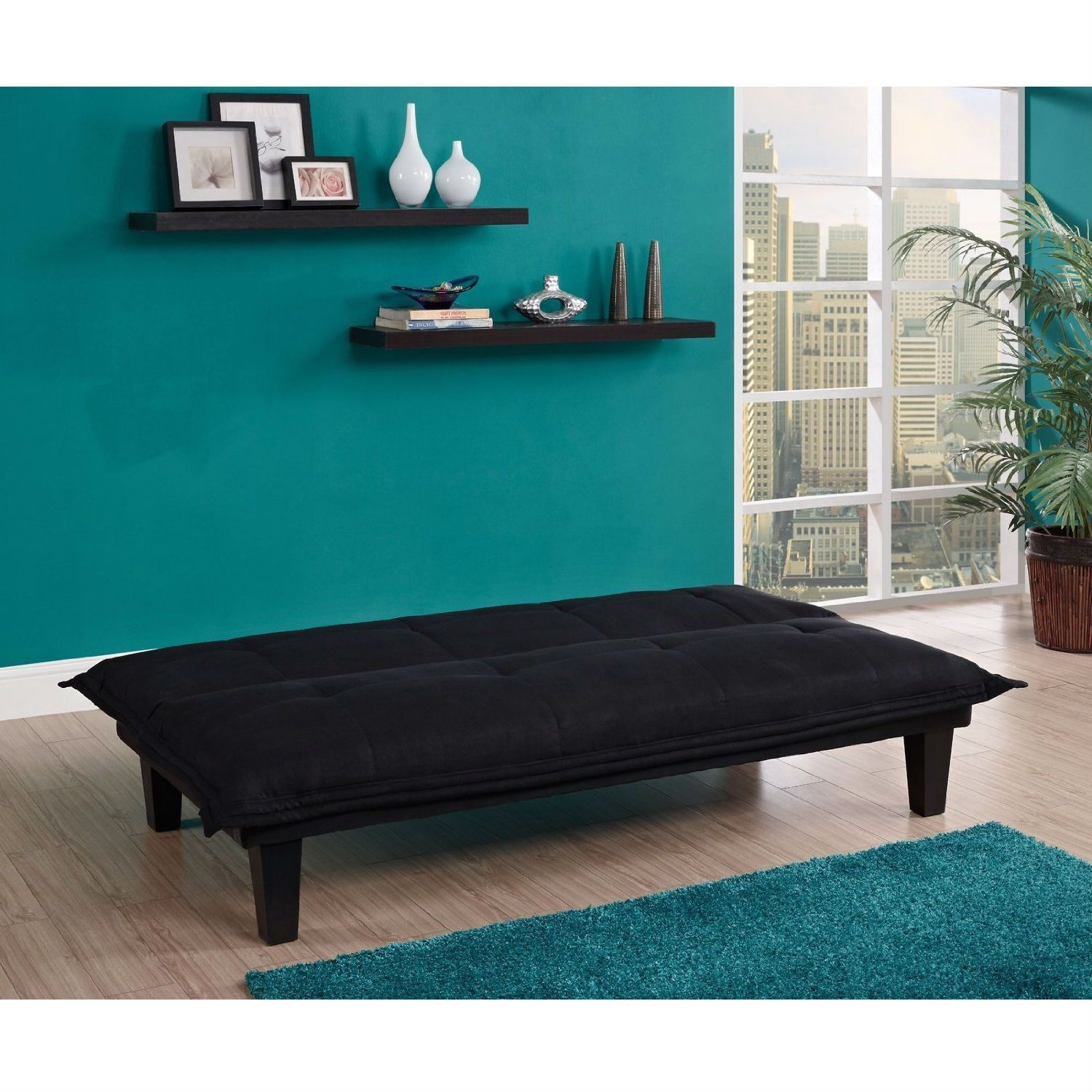 Black Microfiber Click-Clack Sleeper Sofa Bed Futon Lounger | Pinterest