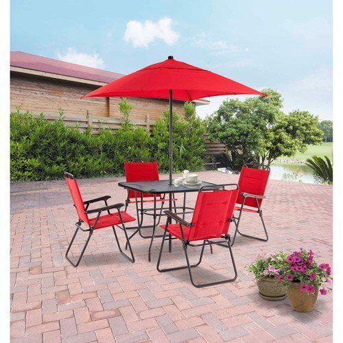 NEW Mainstays Searcy Lane 6-piece Padded Folding Patio Dining Set, Seats 4, RED  #Mainstays