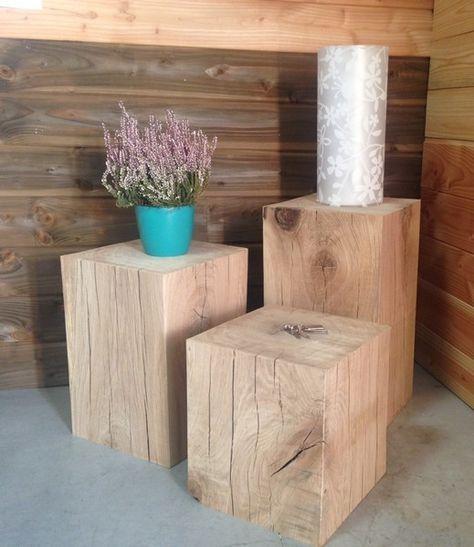 cube en ch ne massif table basse gu ridon table gigogne cube bois bout de canap table. Black Bedroom Furniture Sets. Home Design Ideas