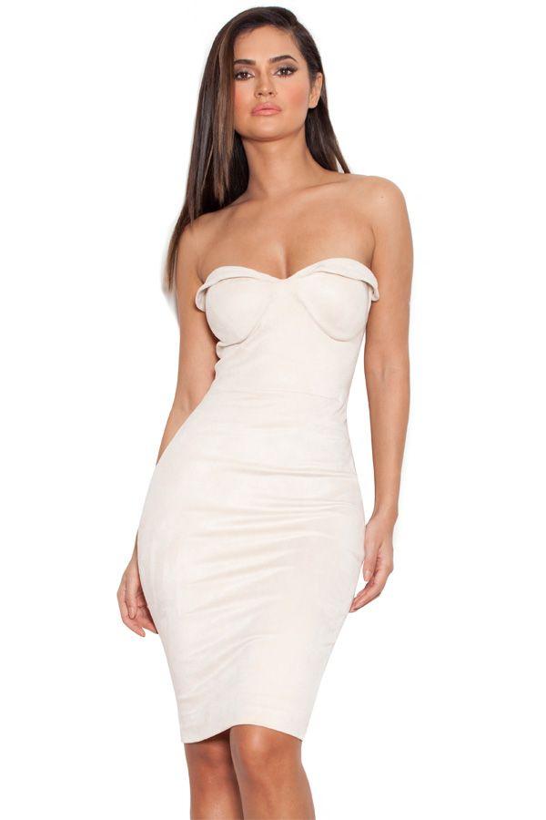 f58a429c97 Pia Ecru Suedette Strapless Bodycon Dress