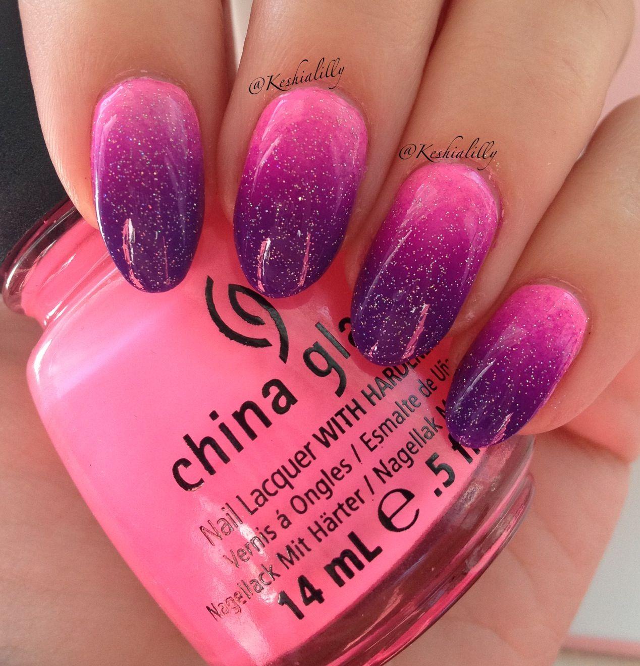 Ombré I did using China Glaze \'Shocking Pink\', Island girl \'Aloha ...
