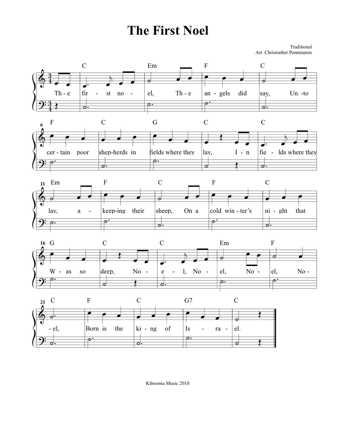 The First Noel Sheet Music from Kiboomu Kids Songs