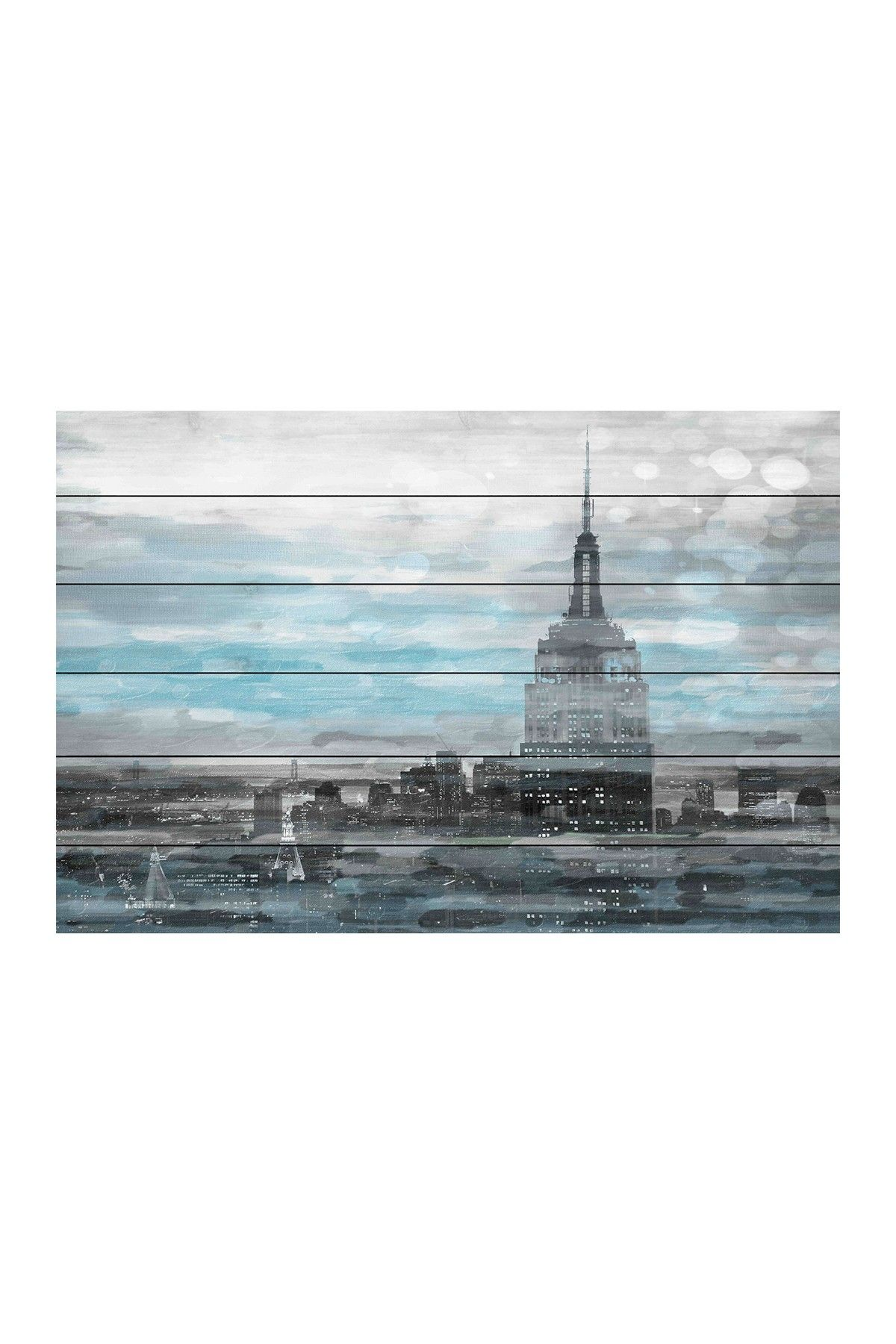 Blue city hues white pine wood wall art on hautelook art pinterest