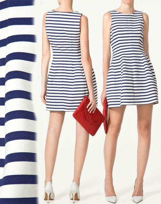 58556b890e Zara Blue   White Striped Strapless Mini Dress