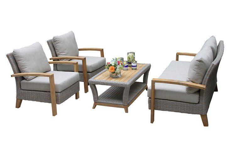 4 Pc Wicker Lounge Set Ash Rattan Sofa Rattan Furniture Set