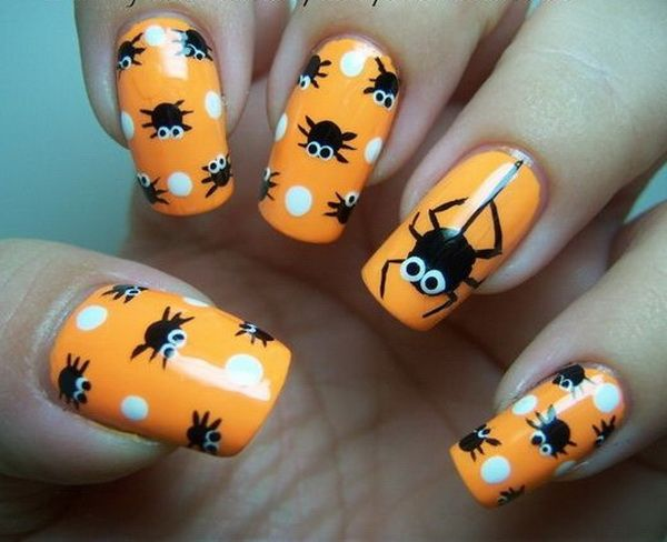Nail Art Gallery - Polka Dot Spiders-Halloween Design - The Beauty Thesis - 40+ Cute And Spooky Halloween Nail Art Designs Black Nails, Fun