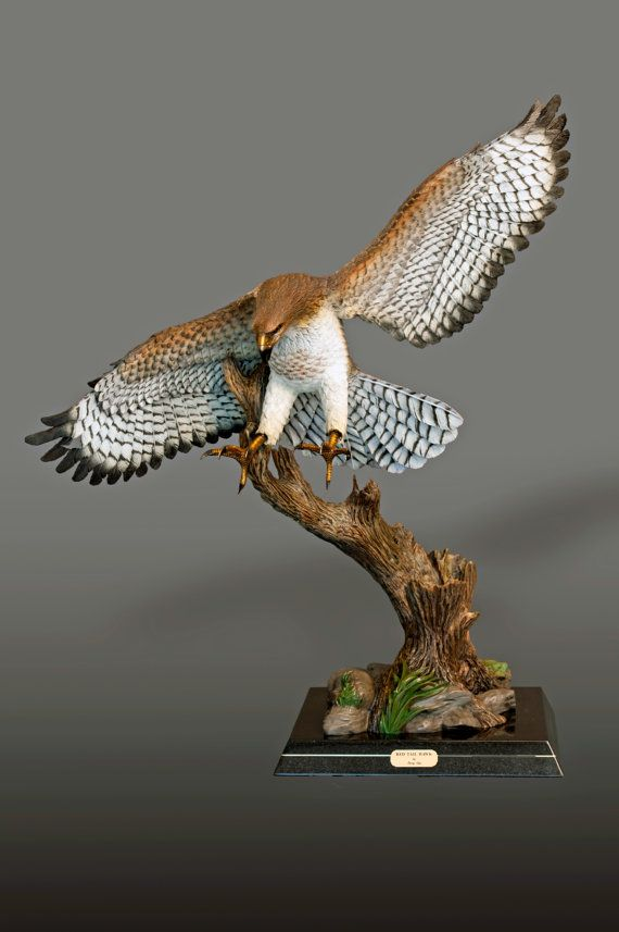 Life Size Magnificent Bronze Redtailed Hawk By