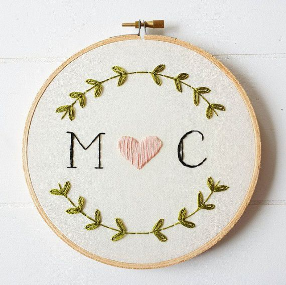 Custom monogram embroidery hoop art hand embroidered