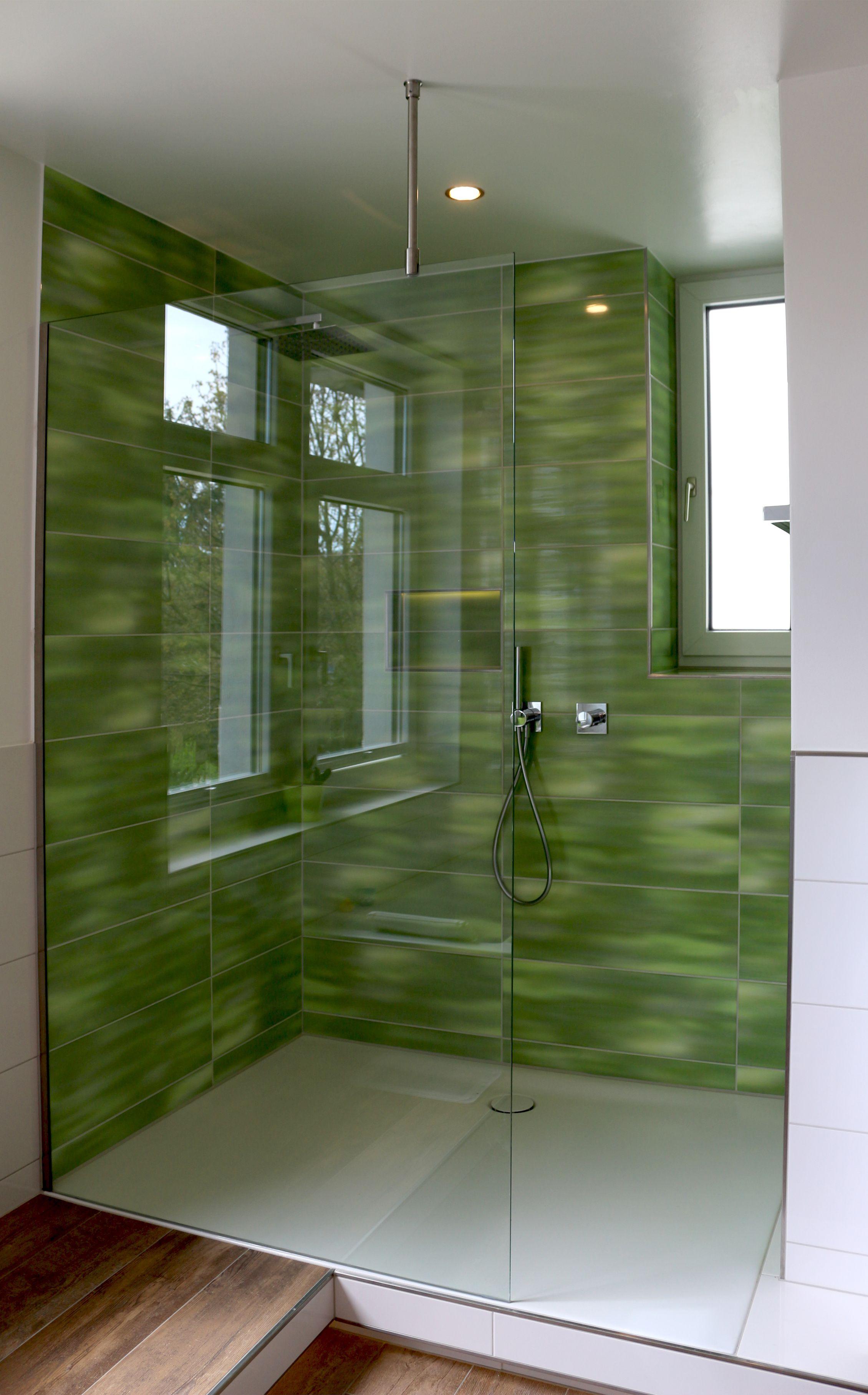 walk in dusche aus glas mit wandklemmprofil und stabilisierungsstange - Glaswand Dusche Walk In