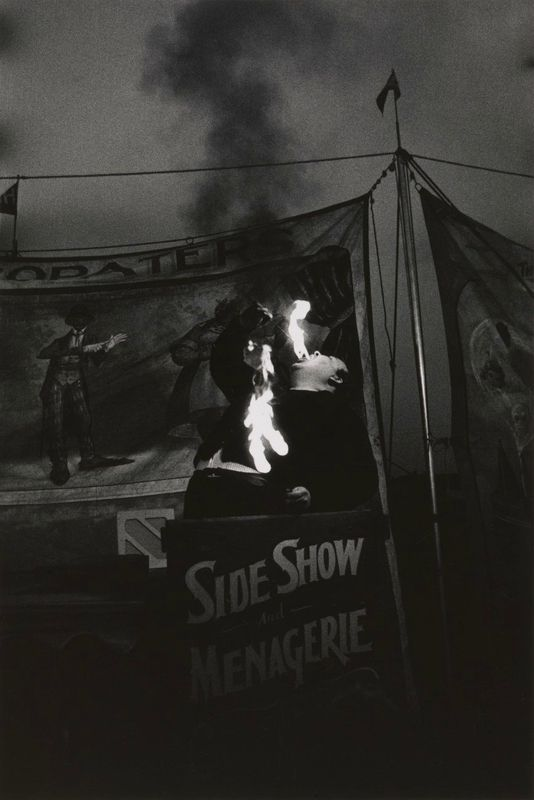 Diane Arbus, Fire Eater at a carnival, Palisades Park, NJ, 1957; gift of Danielle and David Ganek, 2005; courtesy The Metropolitan Museum of Art, New York / copyright © The Estate of Diane Arbus, LLC. All rights reserved/