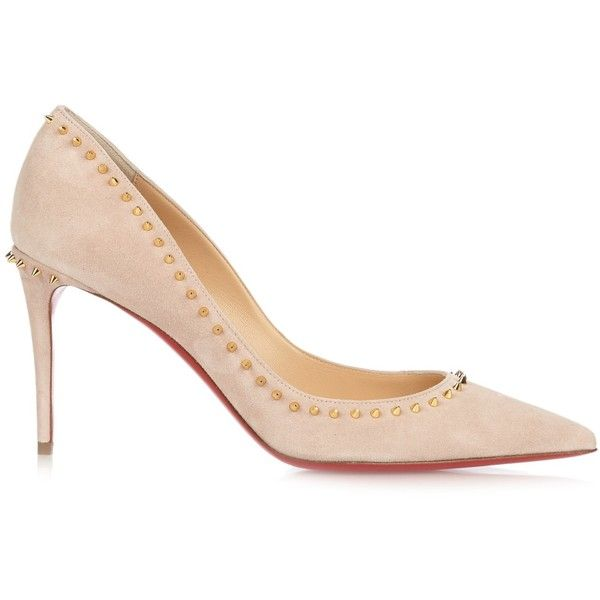 Christian Louboutin Anjalina 85mm suede pumps (£640) ❤ liked on Polyvore featuring shoes, pumps, light pink, stiletto pumps, christian louboutin pumps, stiletto shoes, suede pointed-toe pumps and suede pumps