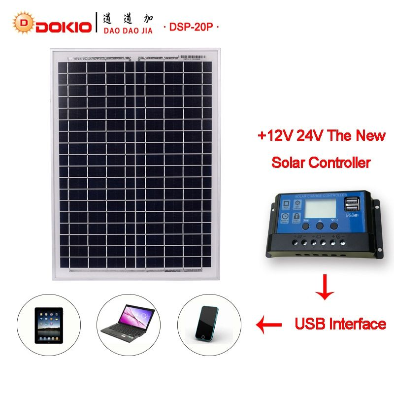 Us 37 59 Dokio Solar Panel 20w 10a 12v 24v Solar Controller With Usb Interface 12v Portable Solar Panel For Mobile Phone Solar Solar Panels Usb