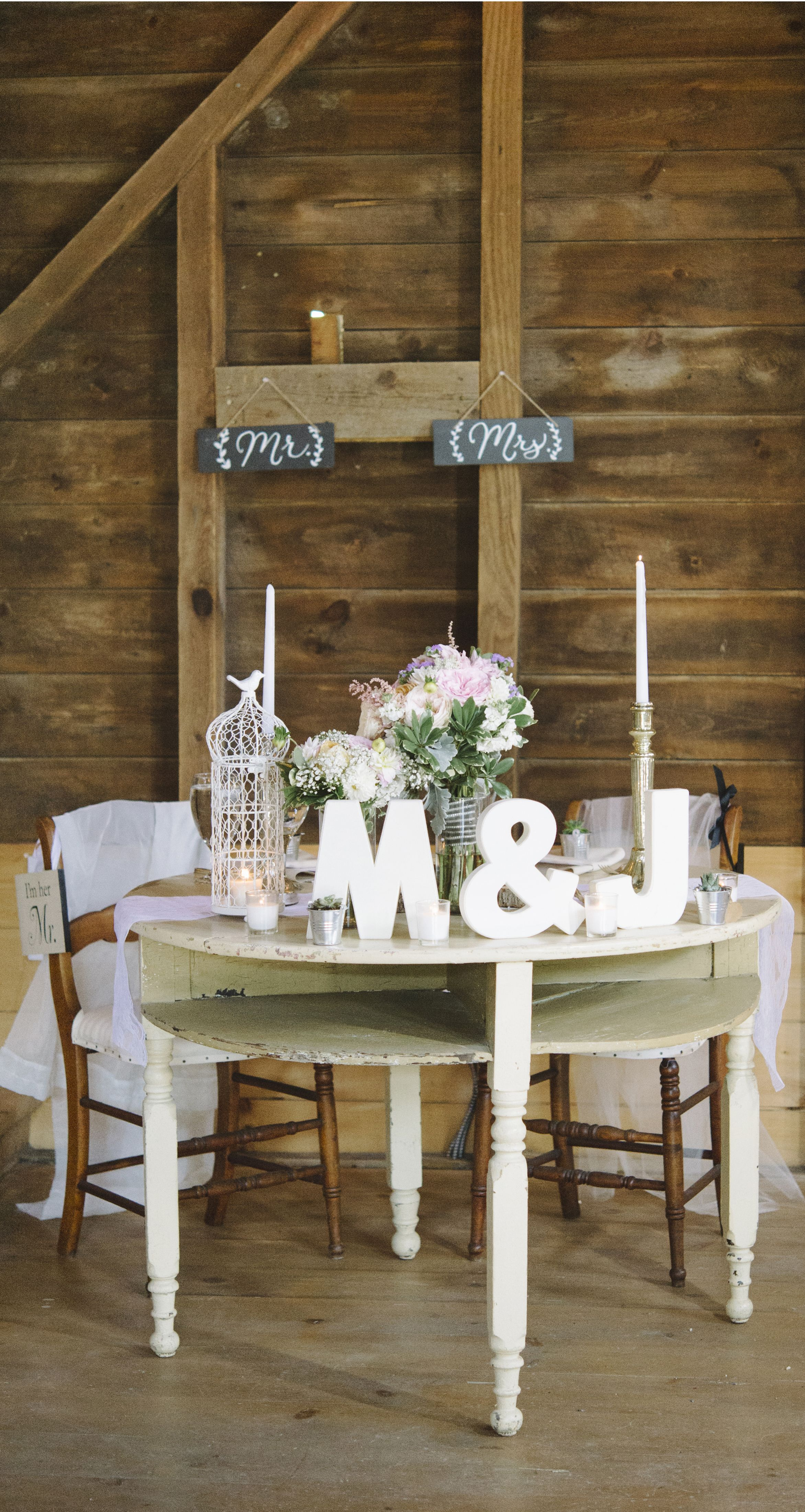 Romantic And Rustic Bride And Groom Table Wedding Decor Idea! Photo By  Http:/