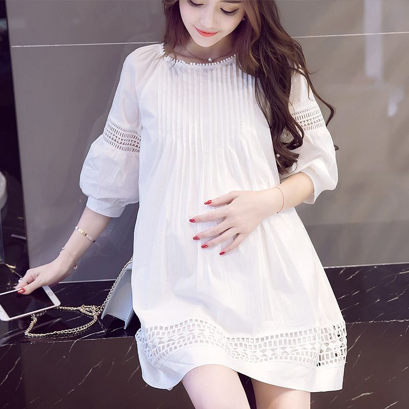 29bd19b0c557a Korea Maternity Dress Wear Maternity Short-sleeve Chiffon White Clothing  Maternity Clothing Bow dress Pregnancy Clothes M-2XL