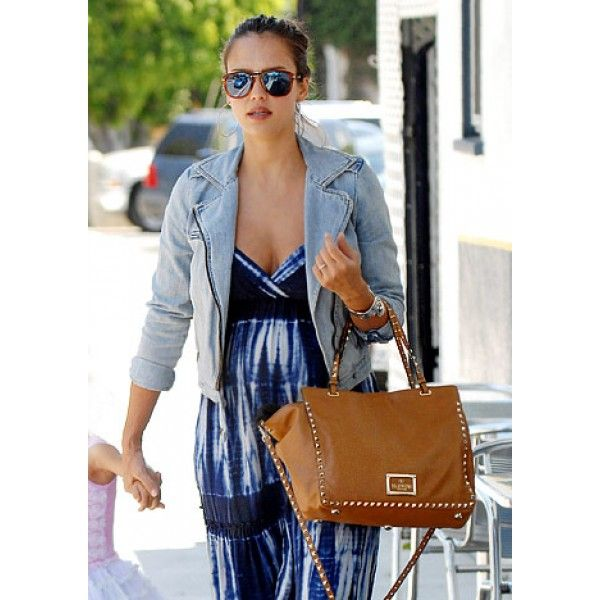 Jessica Alba & Valentino Leather Rockstud Medium Trapeze Tote Bag ...