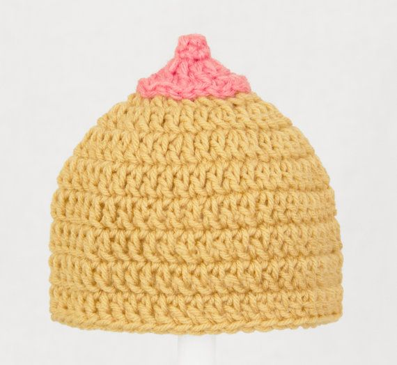 The Breast Hat Ever Tan and Pink Crochet Beanie. Someone was telling me  about this hat. Lovely.  -) a8ca197bf817