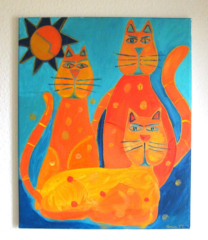 Tableau Chats Color S Tableau Peinture Acrylique Tableau Moderne