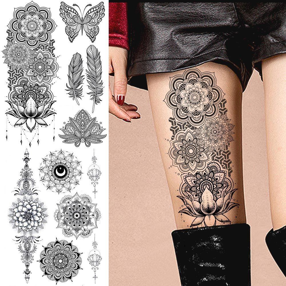 Women Tattoo Leg Flower - Women