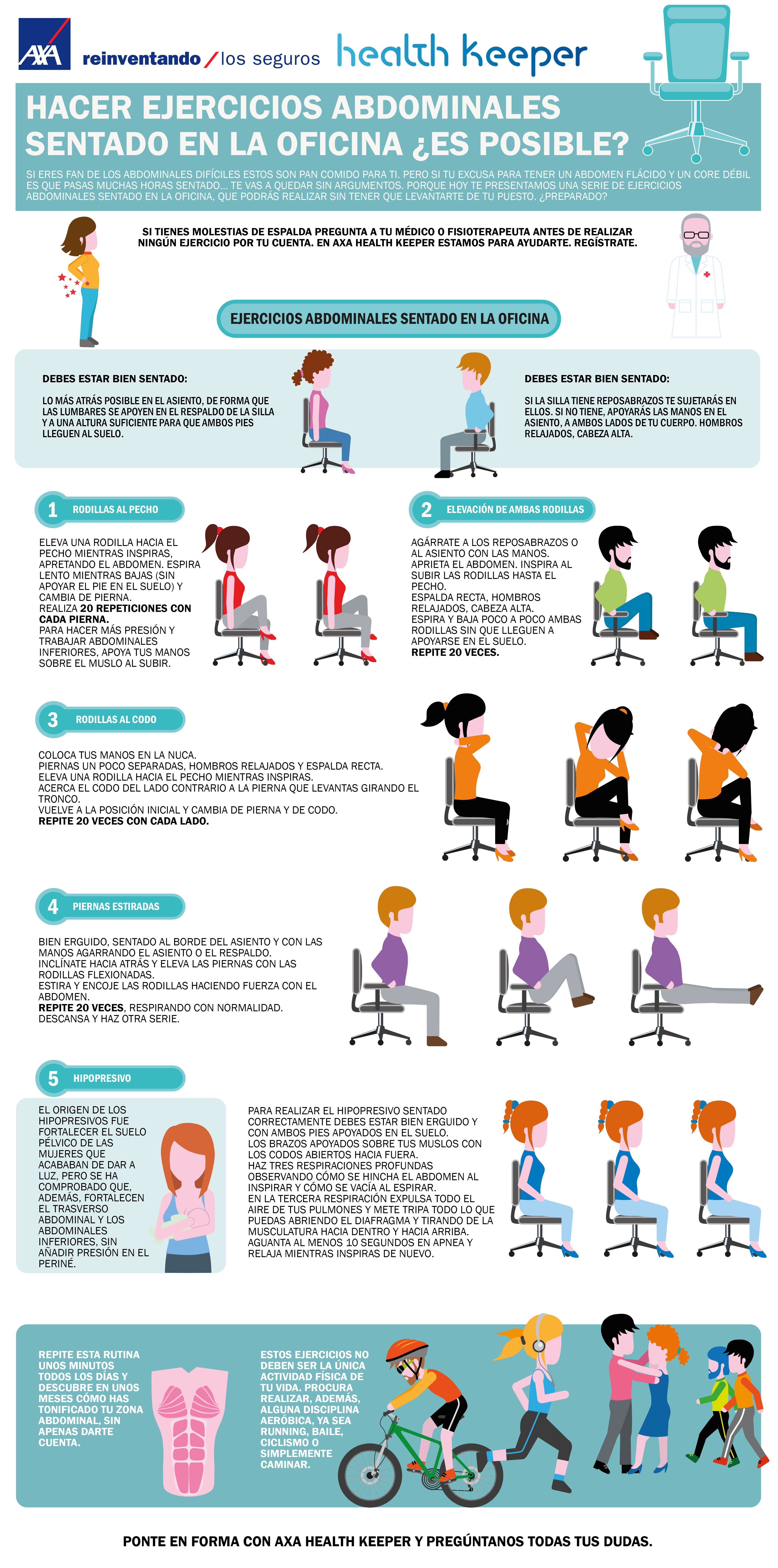 ejercicios para hacer en la silla de la oficina