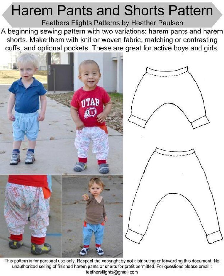 Freebook (englisch) Haremshose / Pumphose lang oder als Shorts für ...