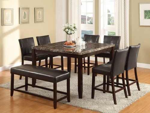 8 Pc Idris Collection Square Espresso Finish Wood And Faux Marble Top Counter Hei Counter Height Dining Table Set Bar Height Kitchen Table Pub Table And Chairs