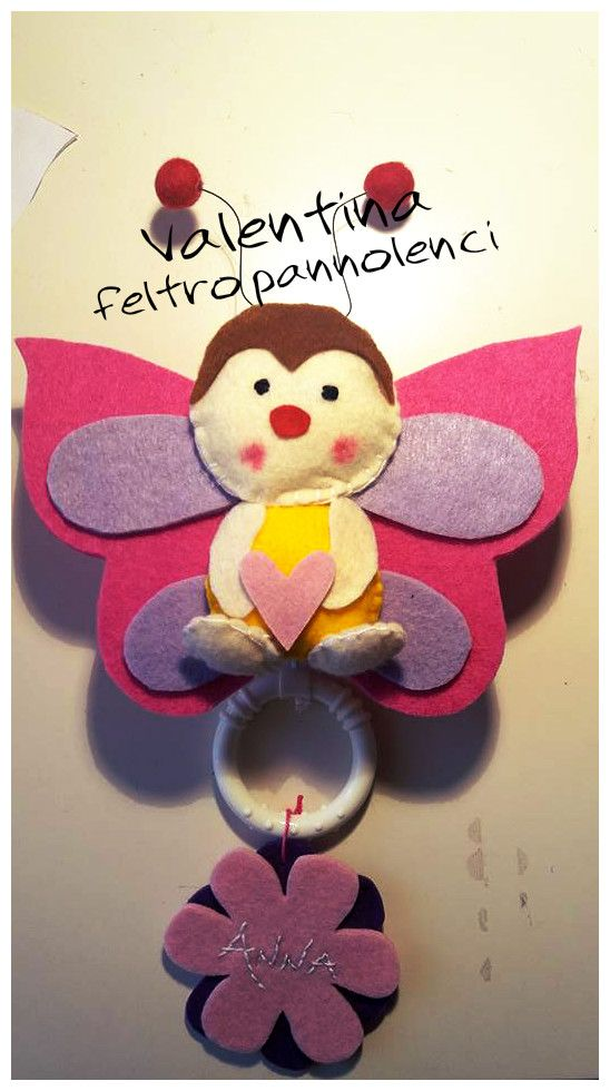 preordinare goditi la spedizione in omaggio gamma completa di specifiche Carillon farfalla feltro pannolenci per bambina. Butterfly ...