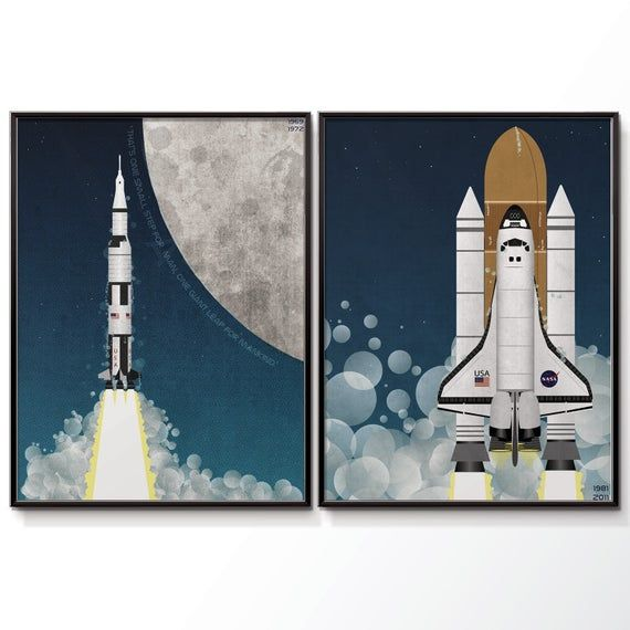 Space Poster Apollo Rocket And Space Shuttle Space Race Moon Etsy Poster Wall Art Wall Art Prints Space Poster