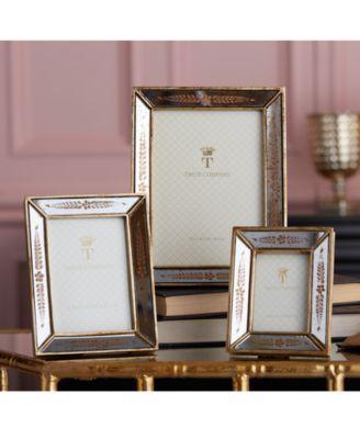 6eb34e04123 Verona Set of 3 Gold Leaf Mirror Photo Frames Includes - Gold