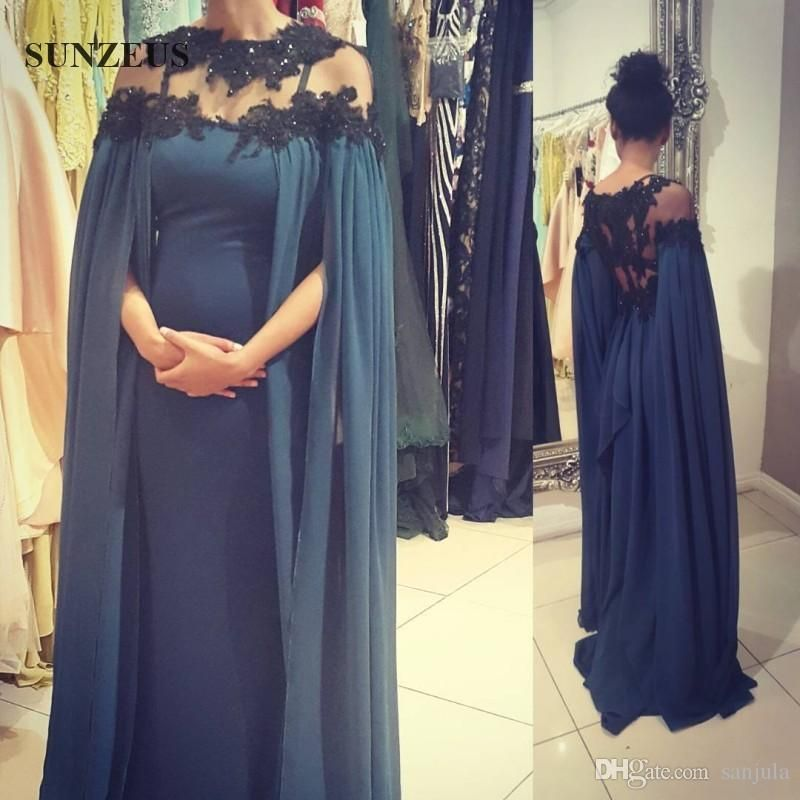 Navy Blue Moroccan Kaftan With Black Appliques Maxi Long Sleeve ...