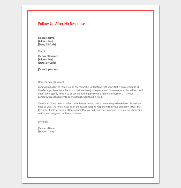 Follow Up Letter After No Response Word Doc  Letter Templates