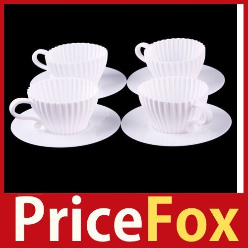 [Price Fox]  DIY 4Pcs Silicone Cupcake Cup Cake Baking Mould Muffin Tea Saucers Teacup Mold High Quality-in Cake Molds from Home & Garden o...