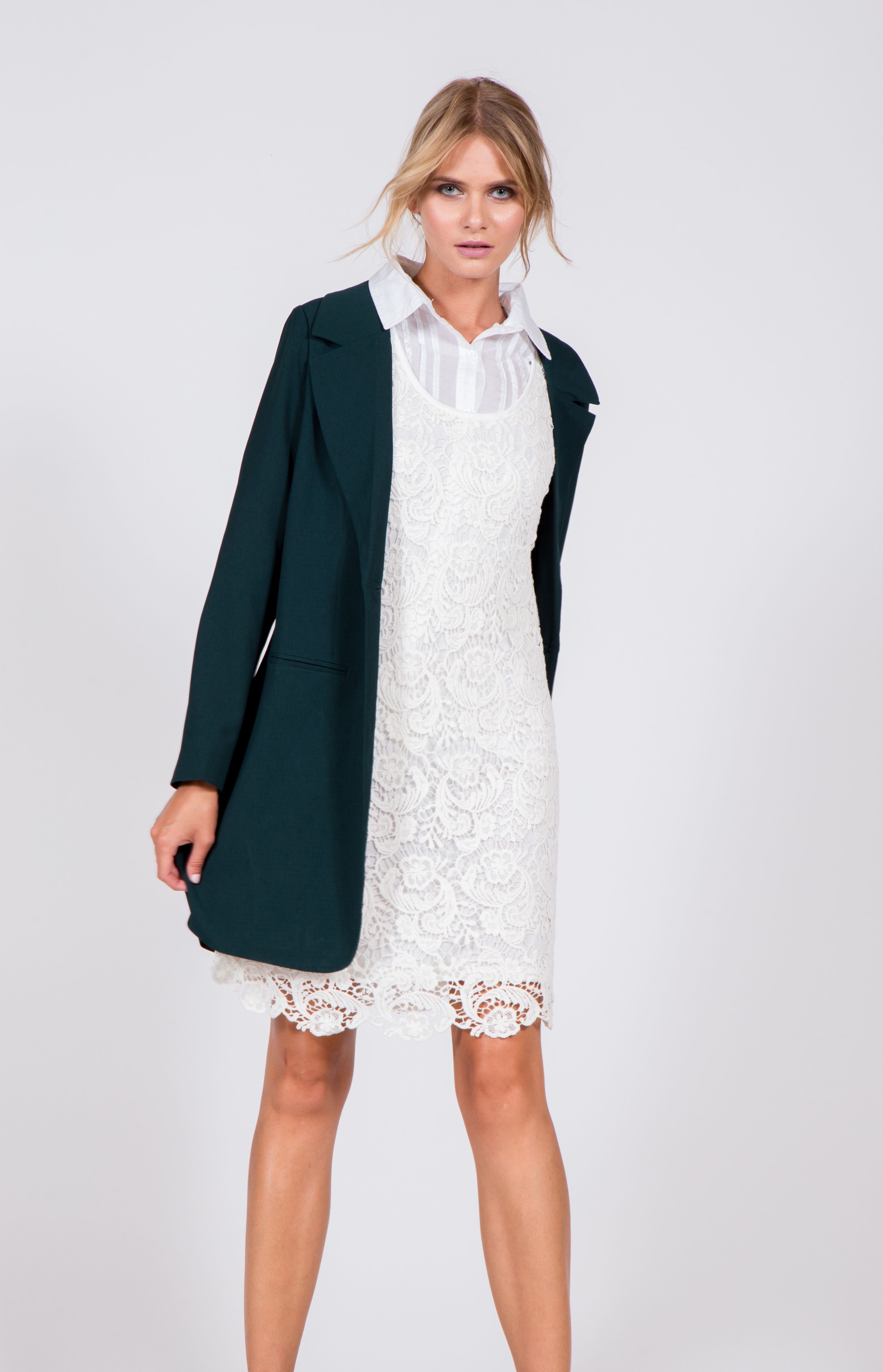 Fully lined sleeveless crochet dress long sleeve notched collar