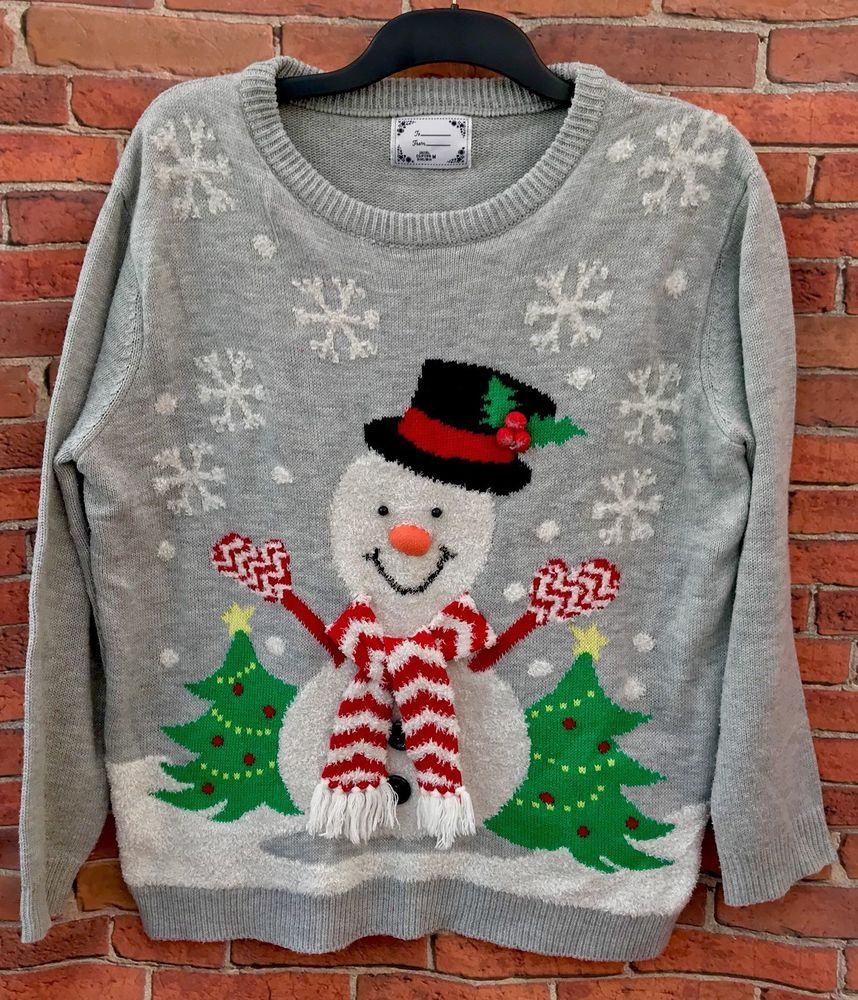 Christmas Jumper Men's Woman's Snowman ⛄️ Xmas Trees Snow