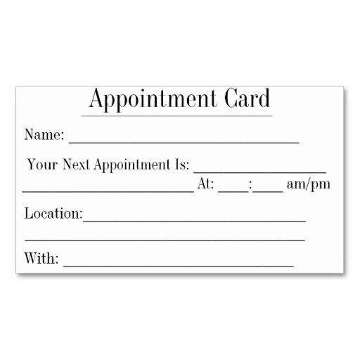 Simple appointment business cards in white appointment for Appointment cards templates free