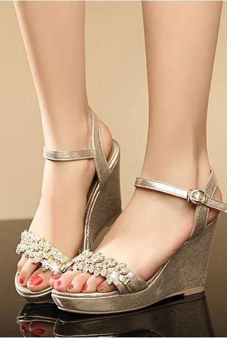 7771ddae7fbe Rhinestone Platform Sandals Women Pumps Ankle Straps Wedges High Heels Shoes  Woman