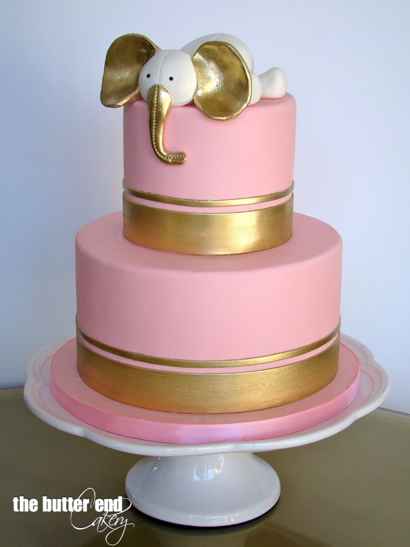 pink and gold baby shower cake pink and gold elephant baby shower cake by the butter end 6554