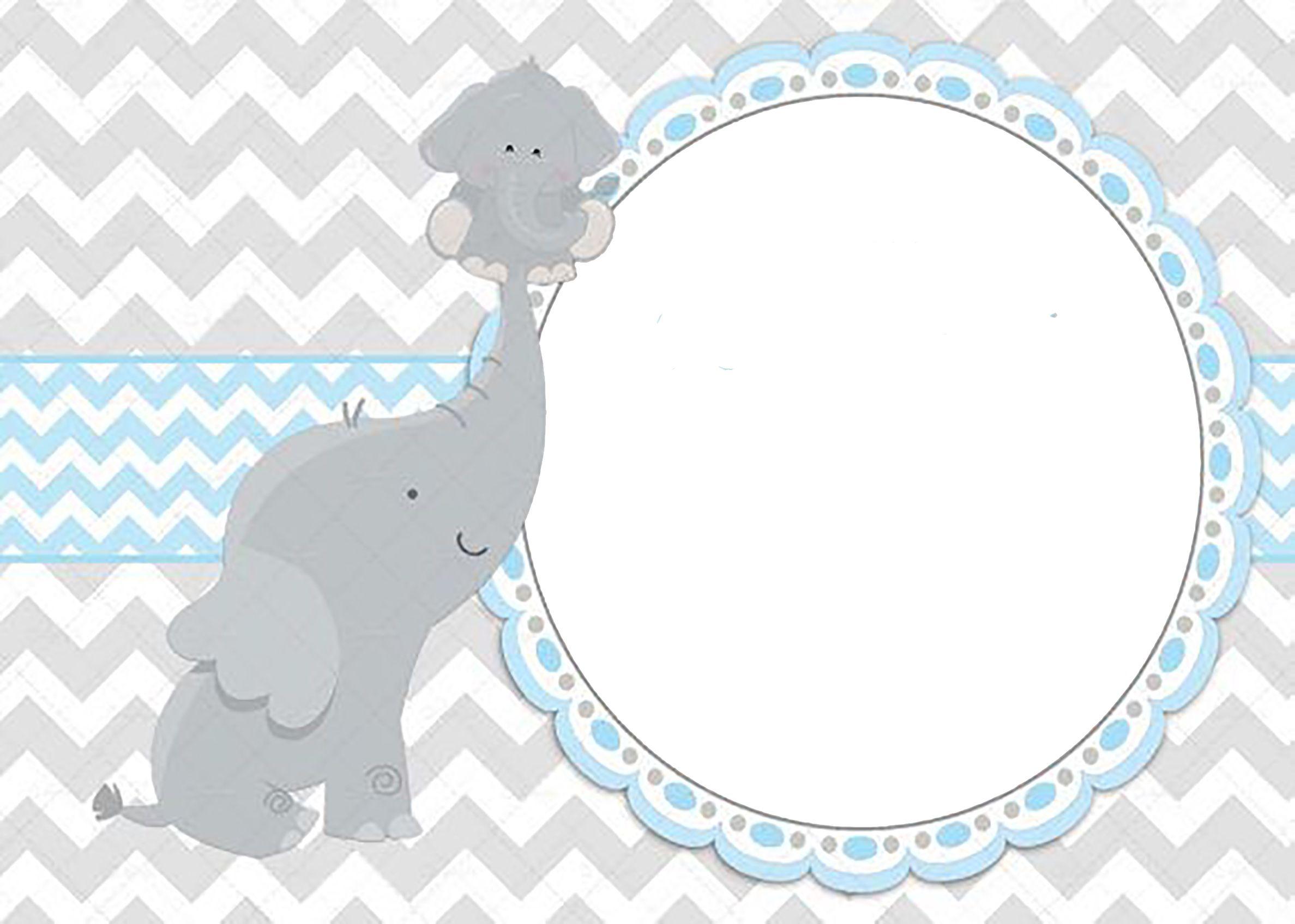 Para Editar Y Imprimir Baby Shower Elefantes Tarjetas