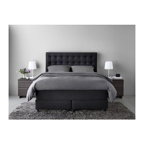 vallavik boxspringbett 180x200 cm hyllestad mittelfest tuss y grau ikea nathana l. Black Bedroom Furniture Sets. Home Design Ideas