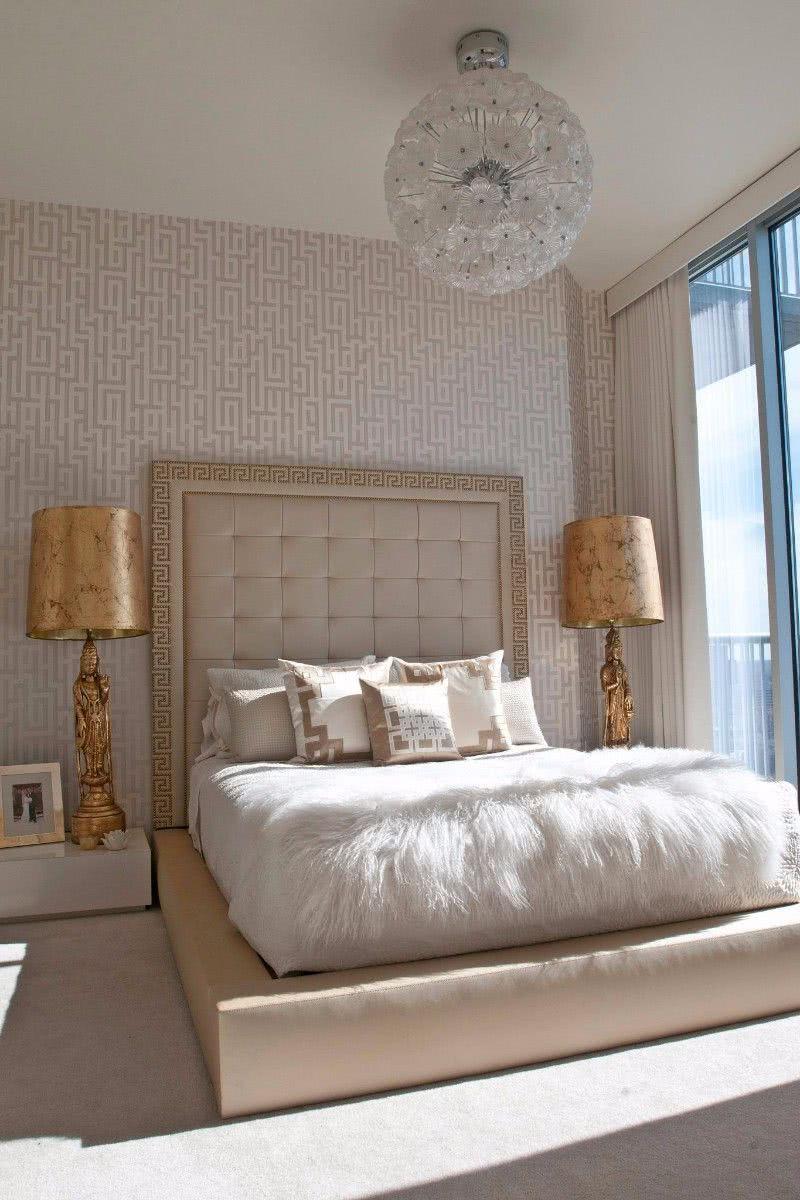 Habitación Elegante Y Lujosa En Ton Os Crema Con Lámparas