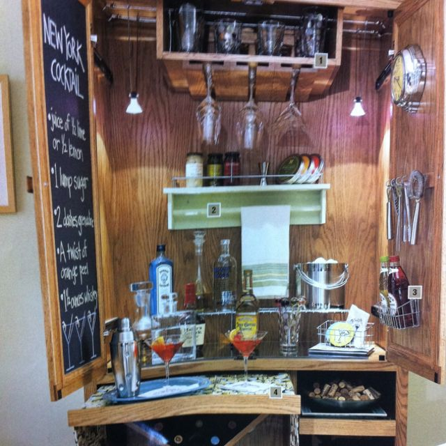 Convert an old entertainment center into a bar. | For the Home ...