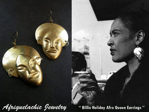 Billie Holiday Afro Queen Earrings By Afriquelachic On Etsy 28 00 Queen Earrings African Inspired Jewelry I Love Jewelry