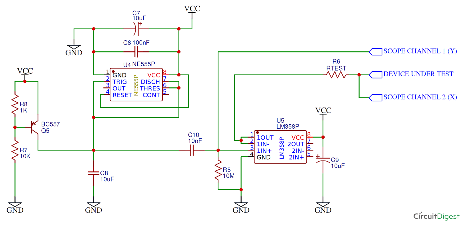Simple Curve Tracer Circuit Tracing The Curve For Resistor Diode And Transistor Circuit Circuit Diagram Electronics Circuit